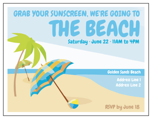 "OL423 - 4.25"" x 5.5""  - ""Grab Your Sunscreen"" Beach Party Cardstock Invite"