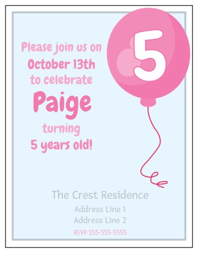 "OL423 - 4.25"" x 5.5""  - Pink Balloon Birthday Party Invitation"