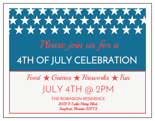 "OL423 - 4.25"" x 5.5""  - 4th of July Cardstock Invitation"