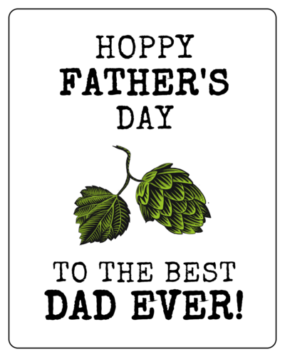 """Hoppy Father's Day"" Beer Bottle Labels (Round Corner Rectangle)"