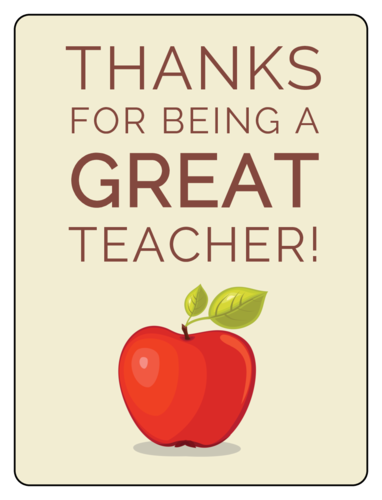 """Thanks for being a great teacher!"" Wine Bottle Labels pre-designed label template for OL500"