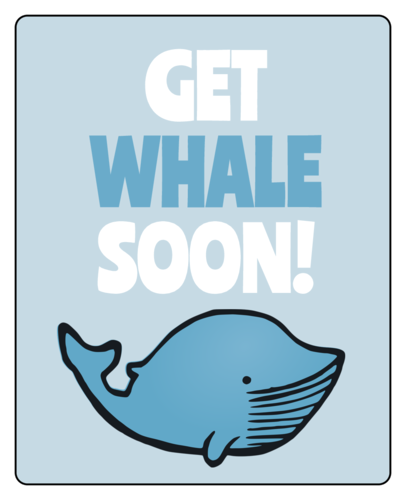 "OL2679 - 2"" x 2"" Square - ""Get Whale Soon"" Gift Labels"