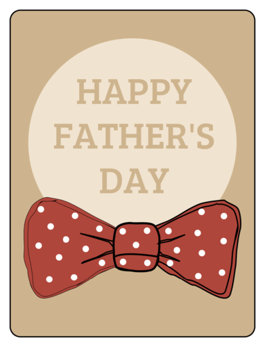 """Happy Father's Day"" Bow Tie Gift Labels (Round Corner Rectangle)"