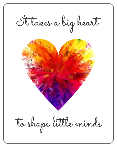 """It takes a big heart to shape little minds"" Teacher Appreciation Wine Bottle Labels pre-designed label template for OL162"