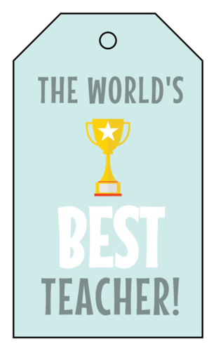 "OL3487 - 1.75"" x 3"" - ""The World's Best Teacher!"" Cardstock Gift Tags"