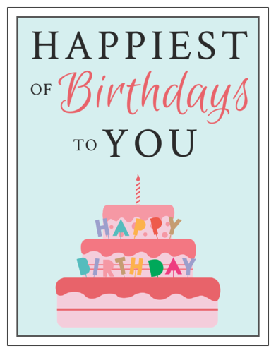 "OL423 - 4.25"" x 5.5""  - ""Happiest of Birthdays to You"" Cardstock Note Card"