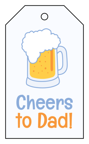 "OL3487 - 1.75"" x 3"" - ""Cheers to Dad!"" Father's Day Cardstock Gift Tags"