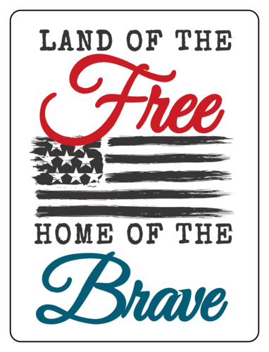 "OL500 - 4"" x 3"" - ""Land of the Free, Home of the Brave"" Fourth of July Labels"