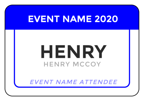 "OL6675 - 5"" x 3"" - Color Coded Event Name Tag Labels"