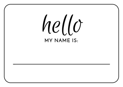 Elegant Wedding Name Tag Labels (Round Corner Rectangle)