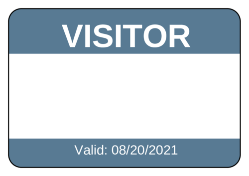 "OL131 - 8"" x 5"" - ""Visitor"" Name Tag Labels"