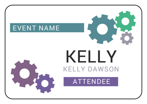 "OL6675 - 5"" x 3"" - Simple Cog Event Name Tag Labels"