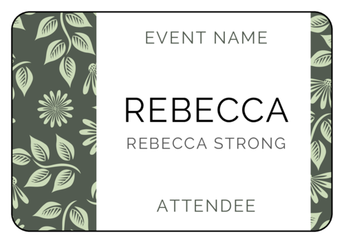 Floral Event Name Tag Labels (Round Corner Rectangle)
