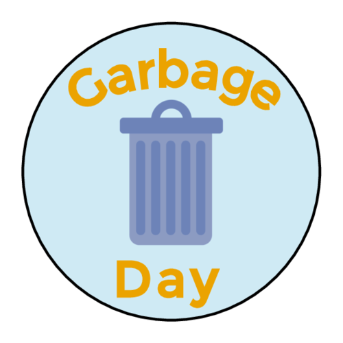 """Garbage Day"" Planner Labels (Circle)"