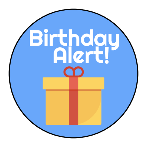 "OL914 - 1.75"" Circle - ""Birthday Alert!"" Planner Labels"