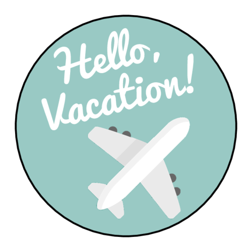 "OL914 - 1.75"" Circle - ""Hello Vacation!"" Planner Labels"