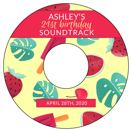 "OL1200 - 4.5"" CD - Summertime Birthday Party Soundtrack Labels"