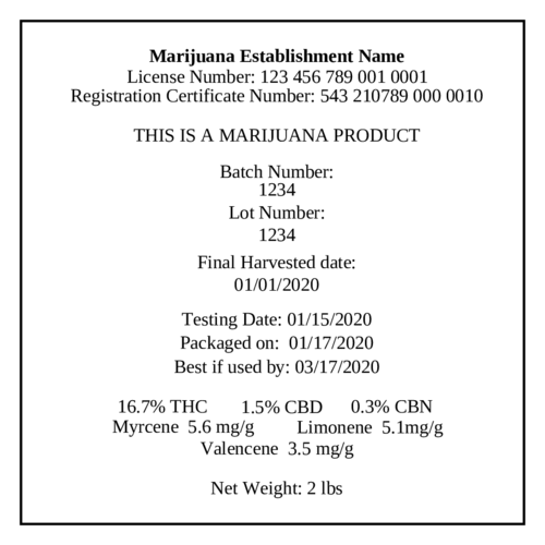 "OL175 - 8.5"" x 11"" - Marijuana Cultivation Labels"