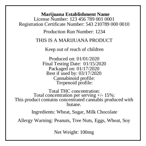 "OL175 - 8.5"" x 11"" - Marijuana Production Labels"