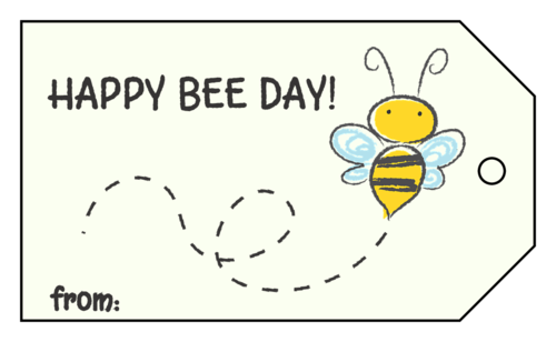 """""""Happy Bee Day"""" Cardstock Gift Tag (Custom)"""