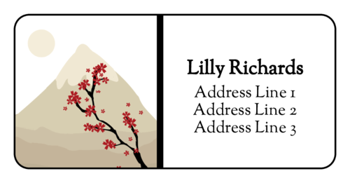 Sakura Mountain Address Label pre-designed label template for OL223