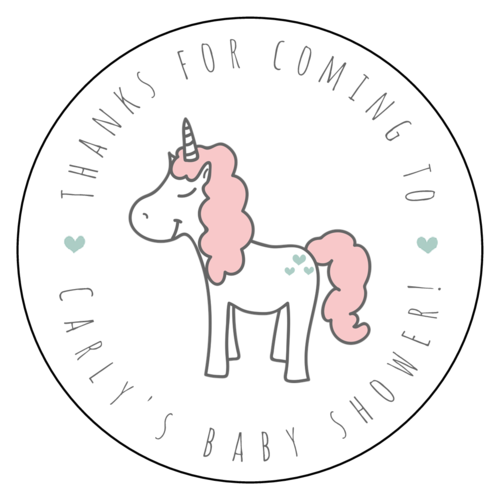 """Thanks For Coming To Baby Shower"" Unicorn Label (Circle)"