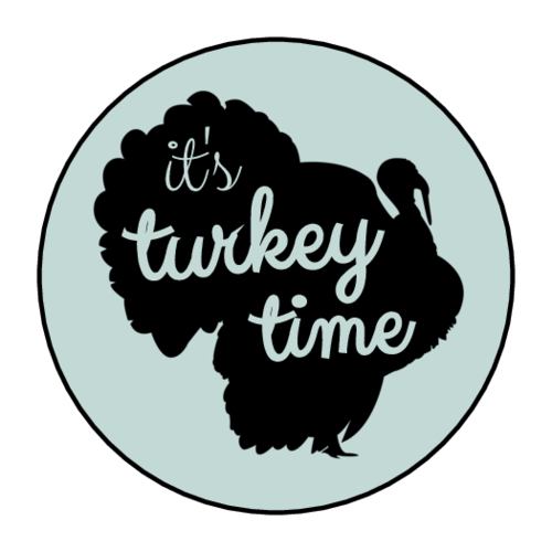 """It's Turkey Time"" Thanksgiving Leftover Labels (Circle)"