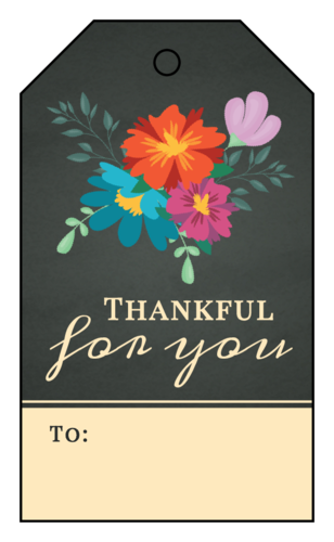 """Thankful for you"" Cardstock Gift Tags pre-designed label template for OL3487"