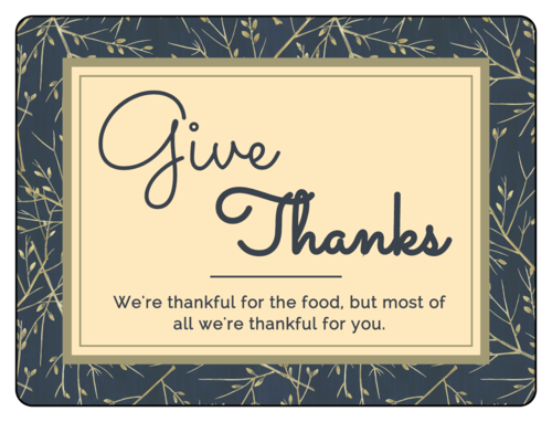 "OL500 - 4"" x 3"" - ""Give Thanks"" Florid Thanksgiving Labels"