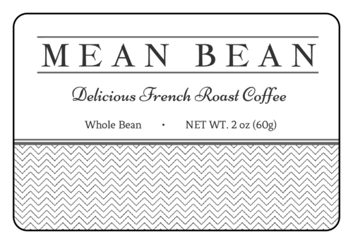 "OL996 - 3"" x 2"" - ""Mean Bean"" Coffee Bag Labels"