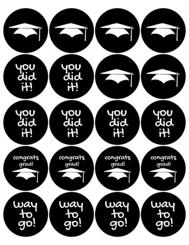 Printable template with graduation caps and congratulatory sayings