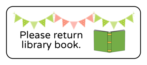 "OL875 - 2.625"" x 1"" - ""Please return library book"" Classroom Labels"