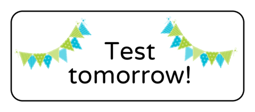 "OL875 - 2.625"" x 1"" - ""Test tomorrow"" Classroom Labels"
