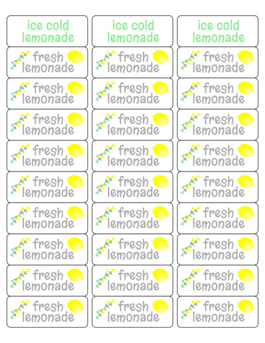 """Fresh Lemonade"" and ""Ice Cold Lemonade"" sticker printables for DIY kid lemonade stands"
