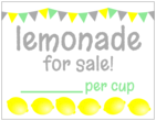 """Lemonade for sale!"" Lemonade Stand Cardstock Signs"