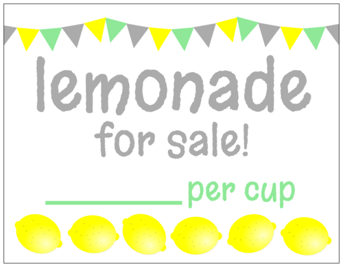 """Lemonade for sale"" lemonade stand cardstock sign printable"