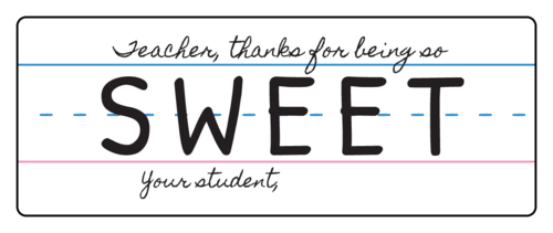 """Teacher, thank you for being so sweet"" Teacher Appreciation Gift Labels (Round Corner Rectangle)"
