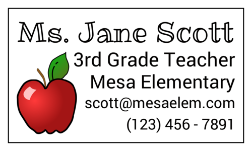 Teacher Contact Magnets pre-designed label template for OL402