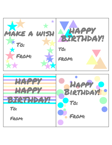 "OL3027 - 4"" x 4"" Square - Assorted Birthday Gift Tags"