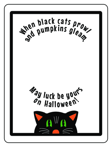 Free black cat printable label template for Halloween party favors