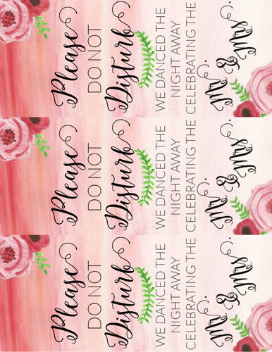 Printable label template design: door hangers for after a wedding