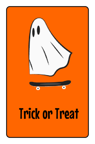 "OL575 - 3.75"" x 2.438"" - Ghost Skater Halloween Candy Favor Labels"