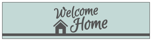 """Welcome Home"" Water Bottle Labels (Square Corner Rectangle)"