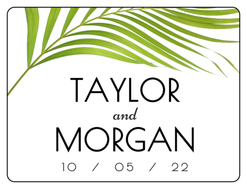 Palm Frond Wedding Announcement Bottle Labels (Round Corner Rectangle)