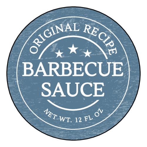 "OL317 - 7"" Circle - Vintage Barbecue Sauce Labels"