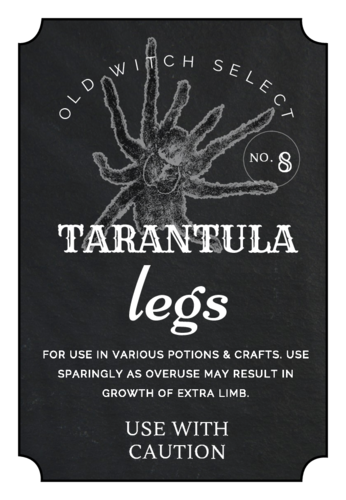 "OL1028 - 3"" x 2"" - ""Tarantula Legs"" Decorative Halloween Apothecary Labels"