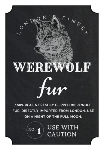Free werewolf fur apothecary printable label template for decorating the house during Halloween