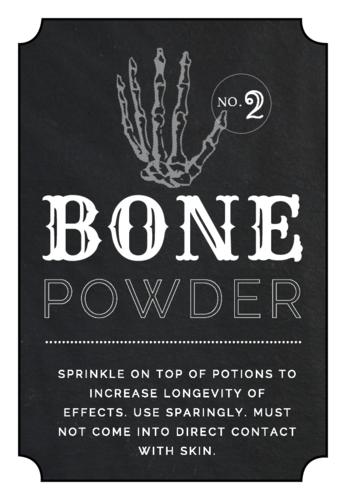 Free bone powder apothecary printable label template for decorating the house during Halloween