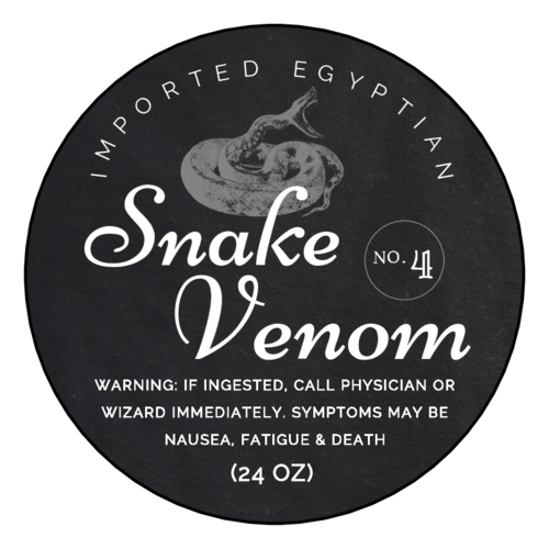 """Snake Venom"" Decorative Halloween Apothecary Labels pre-designed label template for OL350"