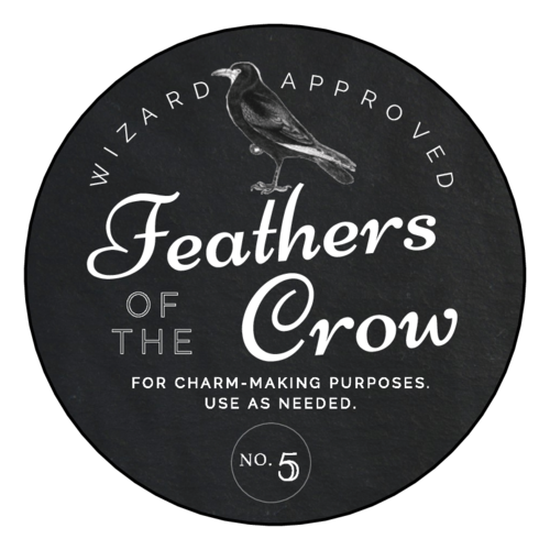 "OL350 - 2.5"" Circle - ""Feathers of the Crow"" Decorative Halloween Apothecary Labels"